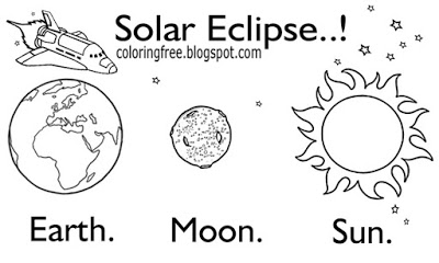 Solar eclipse coloring lesson coloring pages for kids for Printable solar eclipse coloring page