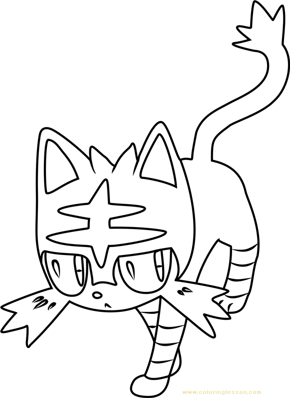 Litten Pokemon Sun and Moon Kids Coloring Page