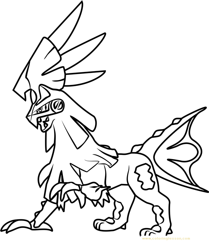 Silvally Pokemon Sun and Moon Kids Coloring Page