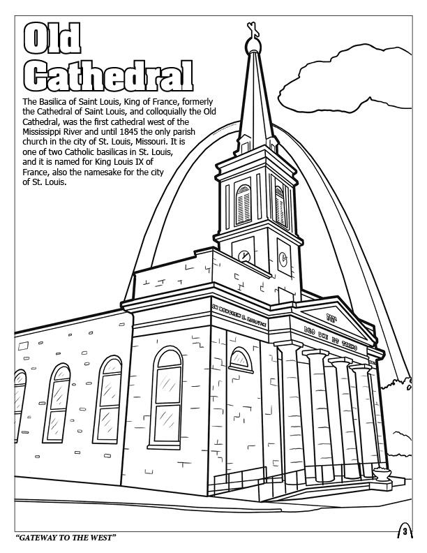 cathedral coloring pages - cathedral of saint louis coloring lesson kids coloring